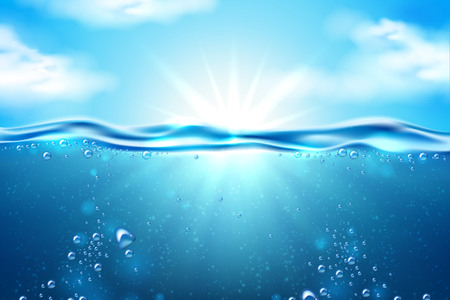 Ocean underwater scene with sunbeam through transparent water on blue sky with white sunny clouds background. Seascape backdrop, diving, travelling summer holiday poster design. Vector illustration Illustration