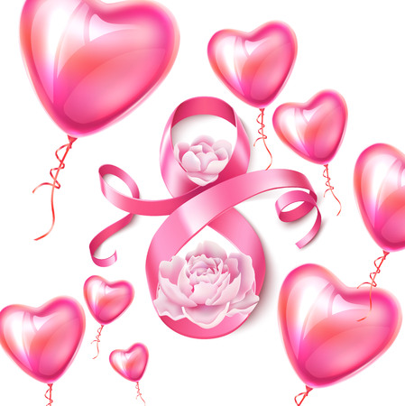 Happy womens day poster with eight number 8 with peony blossoms, heart shape balloons for women day, 8 of march holiday. Silk ribbon sign with flowers for greeting card invitation vector design