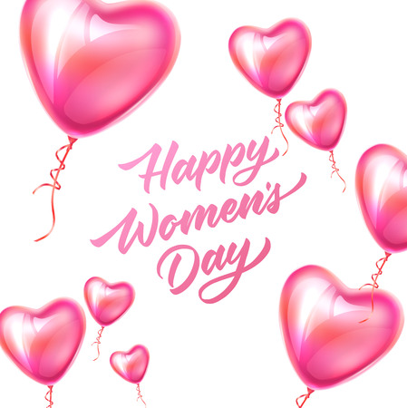 Happy womens day lettering on pink heart shape balloons for international women day 8 of march holiday . holiday greeting card, invitation banner decoration, vector illustration