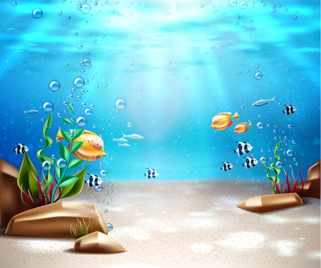 Underwater world nature scene background. Ocean and sea bottom life with blue water, sunrays, exotic fish and oxygen bubbles from seaweed. Marine undersea seascape backdrop. Vector illustration Illustration