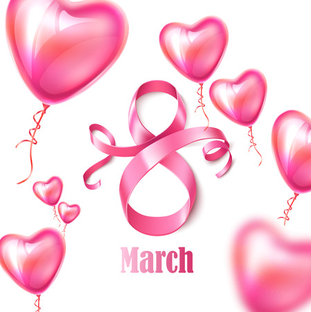 Happy womens day poster with eight number 8 with heart shape balloons for women day, 8 of march holiday. Silk ribbon sign with balloons for greeting card invitation vector design