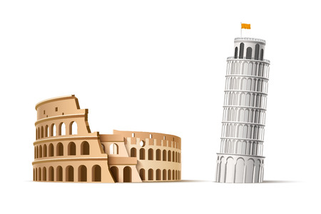 Vector famous italian landmark pisa tower coliseum Illustration