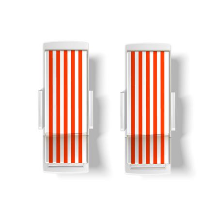 Vector playa, maqueta de vista superior de tumbona de piscina