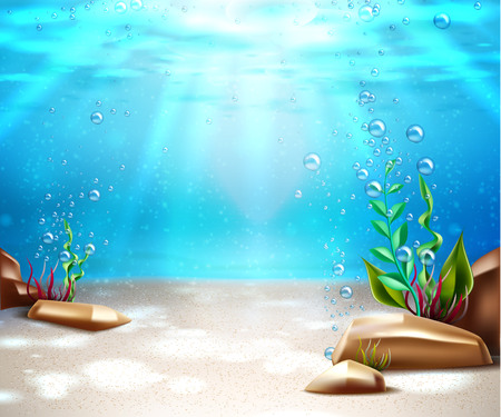 Underwater world nature scene background. Ocean and sea bottom life with blue water, sunrays, seagrass and oxygen bubbles from seaweed. Marine undersea seascape backdrop. Vector illustration