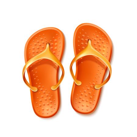 Orange flip-flops for summer design. Beach slippers, rubber holiday footwear. Summer seaside travelling and tourism symbol. Vector tropical recreation sandal.