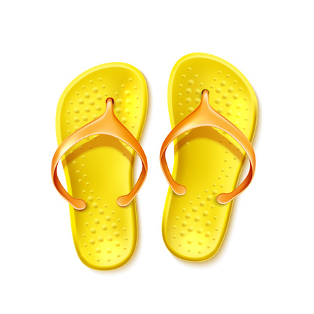 Yellow flip-flops for summer design. Beach slippers, rubber holiday footwear. Summer seaside travelling and tourism symbol. Vector tropical recreation sandal. Illustration