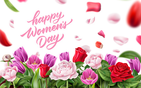 Happy womens day lettering with peonies, tulips flowers on blurred rose petals with leaves background. 8 of march international womens day holiday poster. Invitation, greeting card Vector illustration