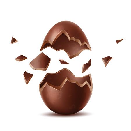 Realistic chocolate egg. Broken, exploded eggshell, two halves chicken egg. Sweet easter holiday symbol. Vector 3d dessert made of dark cocoa. Restaurant, cafe menu, celebration design.