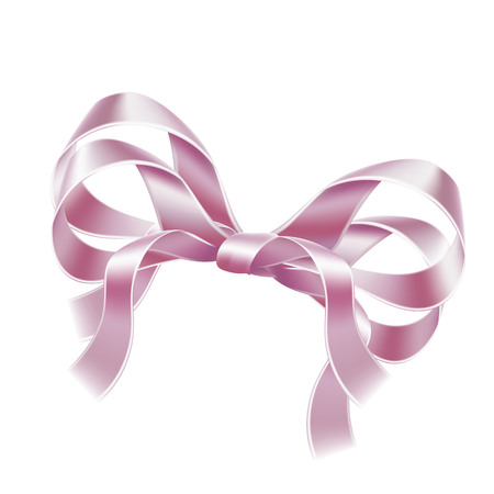 Elegant pink bow. Satin ribbon realistic bow-knot for birthday surprise present, new year, christmas card decoration. Festive valentines day holiday, anniversary celebration vector design.