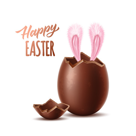 Happy easter poster with rabbit ears sticking out realistic chocolate egg. Broken, exploded eggshell and hare ears. Sweet easter holiday symbol celebration design. Vector 3d dessert made of dark cocoa