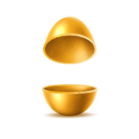 Golden egg halves with sliced eggshell. Easter holiday symbol. Investment, money and success concept. Restaurant, cafe menu design. Earnings and savings design object. Vector illustration Illustration