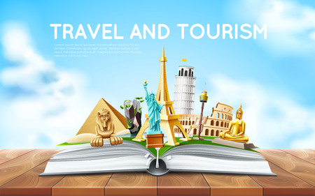 Vector Travelling tourism poster design in book
