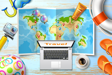 Travelling planning, online tours poster with route on world map with navigation tags at table lifebuoy, laptop, snorkel action camera and sunscreen cream. Time to travel summer vacation vector poster Illustration