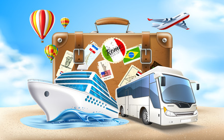 Time to travel poster. Vector best tours promotion, travelling and tourism banner with vintage travel bag suitcase on sand, cruise ship, tourist bus on sky background with air balloons, airplane.