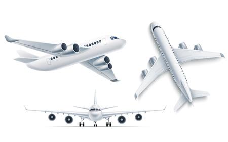 Dessus de maquette d'avion réaliste, vue de face 3d. Symbole du voyage et du tourisme. Jet de ligne aérienne, charte de transport aérien. Avion de ligne moderne avec turbines. Avion de passagers, illustration vectorielle Vecteurs