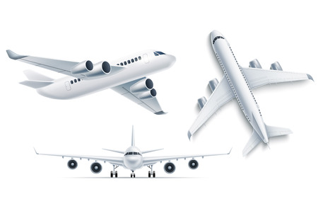 Realistic airplane mockup top, front view 3d . Symbol of travelling and tourism. Airline jet, aviation transportation charter. Modern airliner with turbines. Passenger aircraft, vector illustration Vektorové ilustrace