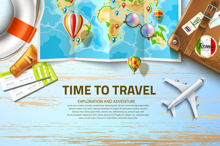 Travelling route on world map with navigation tags at table with airliner plane, vintage suitcase, lifebuoy, flight tickets and sunscreen cream. Time to travel, summer vacation vector poster