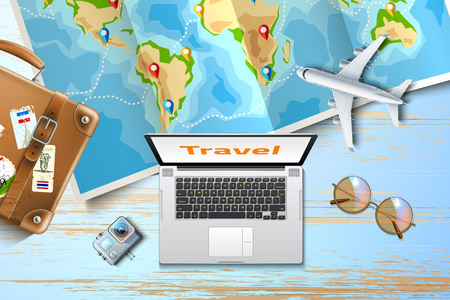 Time to travel, online tours poster with pointer pins on folded world map at wooden table with laptop, action camera, airliner, sunglasses and vintage travel bag. Summer vacation vector poster Illustration