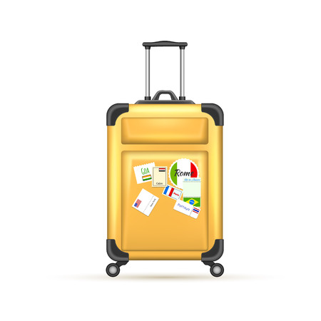 Realistic yellow travelling suitcase with world postage stamp, bag mockup. Vector voyage plastic luggage case . Summer holiday vacation, 3d trip touristic journey symbol. Isolated illustration