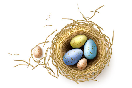 Quail eggs in nest. Realistic chicken eggs for easter holiday celebration design. Bird stick nest for greeting card, invitation, banner design. Vector illustration.