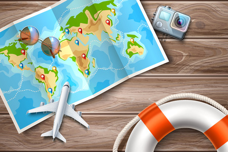 Time to travel, online tours poster with destination pointer pins on folded world map at table with airliner plane, sunglasses, action camera and lifebuoy. Summer vacation vector poster