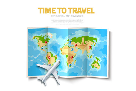 Time to travel poster. Folded world map with destination pointer pins and airplane. Global navigation map background with continents for travelling, tourism design. Vector summer holiday design.