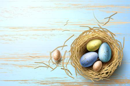 Quail eggs in nest on wooden background. Realistic chicken eggs for easter holiday celebration design. Bird stick nest for greeting card, invitation, banner design. Vector illustration.