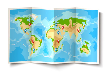 Folded world map with destination pointer pins. Global navigation map background with continents for travelling, tourism design. Vector cartographic symbol, discovery territory exploration.