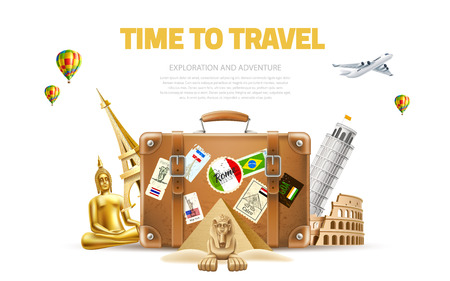 Time to travel poster. Vector best tours promotion, travelling and tourism banner with famous landmarks near vintage travel bag on background with air balloons. Pyramids, sphinx, eiffel tower Illustration