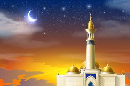 Vector realistic muslim mosque night moon star sky 向量圖像