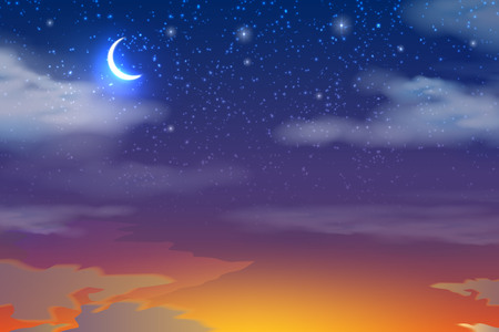 Orange glow of sunset with blue night sky background. Moon with stars on white clouds with red light from setting sun. Ramadan Kareem holiday design. Vector illustration