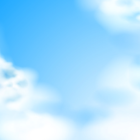Blue sky with white clouds background. Natural backdrop for weather and climate forecast design. Cloudscape wallpaper with air atmosphere. Summer, spring environment vector sky background Illusztráció