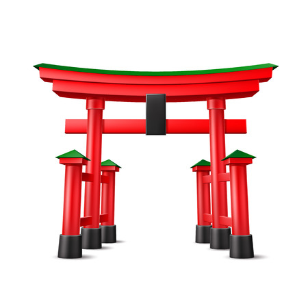 Japanese Torii gate. Realistic Symbol of Japan, shintoism religion. Red wooden sacred tori arch. Ancient entrance, Eastern heritage and landmark. Oriental religious architecture. Vector illustration 向量圖像