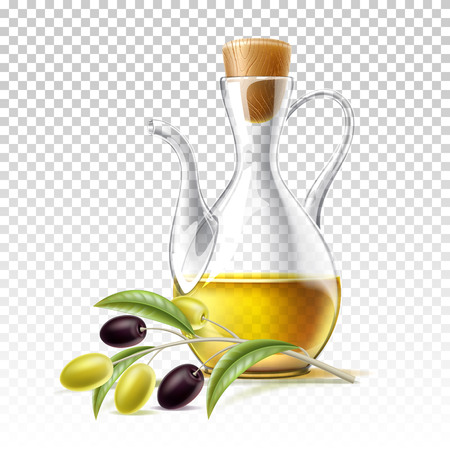 Realistic oil jug with olive branch on transparent background. Premium virgin olive oil in glass bottle. Extra quality ingredient for healthy diet. Vector italian greek organic product in jar. Иллюстрация
