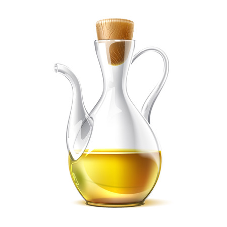 Realistic oil jug with cork. Premium virgin olive oil in glass bottle. Extra quality mideterranian ingredient for healthy diet. Vector italian, greek, bottled organic product for cooking in jar. Illustration