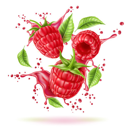 Realistic raspberry juice explosion with berries and green leaves. Juicy red splash for fresh drink product package design. Vector red swirl flow for healthy beverage decoration.