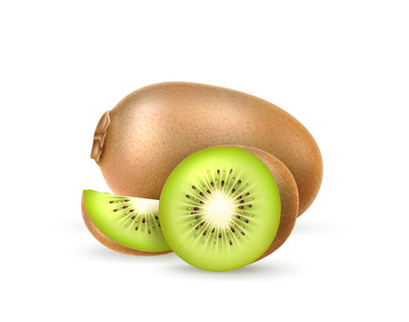 Realistic kiwi. Juicy exotic whole fruit, half and slice full of vitamins. Fresh organic food for healthy eating. Ripe tropical berry for sweet dessert. Food package, restaurant menu vector design.