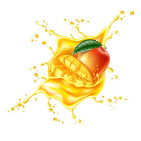 Salpicaduras de jugo de rebanada de hoja de mango realista vector
