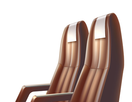Realistic airplane, bus or car passenger seats for travelling and tourism design. Aircraft, road brown leather seat transportation. Summer vacation, voyage vector illustration.