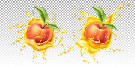Vector realistic peach leaf in juice splash