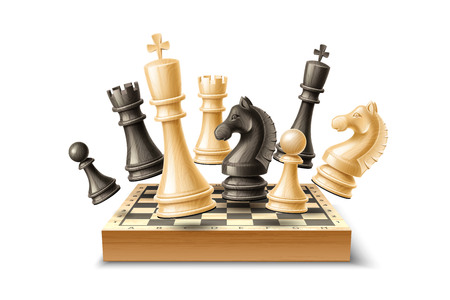 Vector realistic 3d chess pieces chessboard set