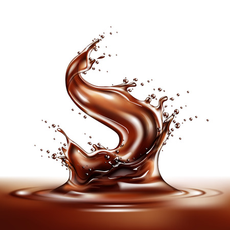 Realistic chocolate splash. Liquid choco swirl, pouring melted cocoa. Delicious sweet dessert flow. Vector splashing cacao motion. Brown drink wave with drops Vettoriali