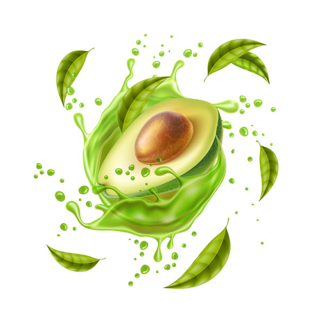 Realistic avocado juice splash. Avocado Half with stone and leaves in swirl motion. Juicy fruit for natural product vector design. Ripe avocado explosion for organic product package design.