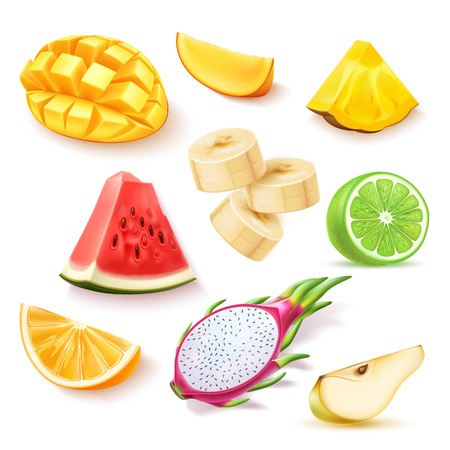 Vector realistic fresh exotic fruits slices set Stockfoto - 121066309