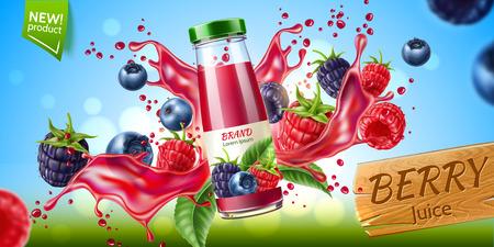 Vector forest berry mix juicy splash motion Vetores