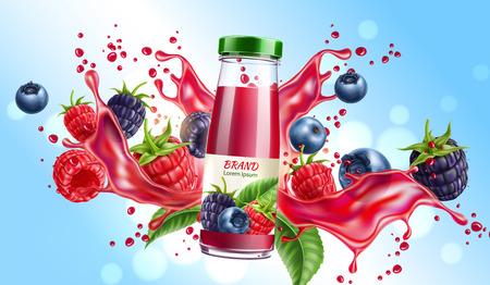 Vector forest berry mix juicy splash motion