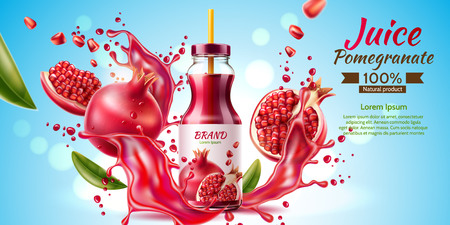 Vector realistic pomegranate juice bottle splash