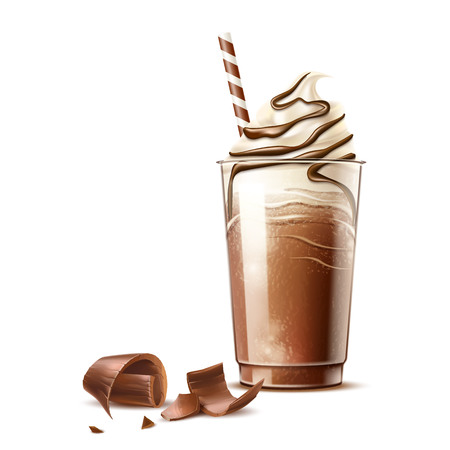 Vector realistic frappe coffee cream and chocolate