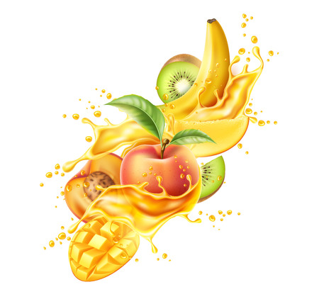 Vector realistic tropical fruit in juicy explosion Illustration