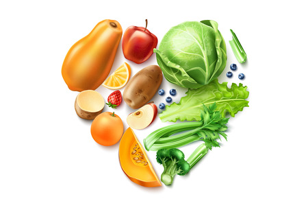 Vector realistic healthy food, organic fruit mix